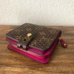 Louis Vuitton's brown and pink wallet zip around organizer unique