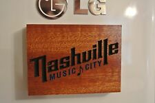 Nashvile Music City Magnet Walnut Wood sign Home Made American Made