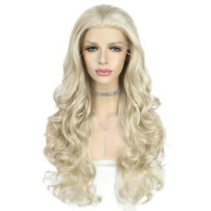 US 24inch Synthetic hair Glueless Lace front wigs Blonde Women Wavy Long