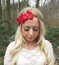 Rouge Fleur Orchidée Bandeau Guirlande De Fleurs Cheveux Couronne