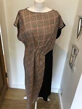 Gorgeous Zara Check Print & Black Cap Sleeve Midi Dress Size XL Worn Once