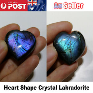 Heart Shape Crystal Labradorite Palm Stone Healing Quartz Gemstone Worry Stone