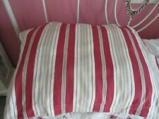 2 Pottery Barn Standard Pillow Shams Red White Tan Ticking Stripes