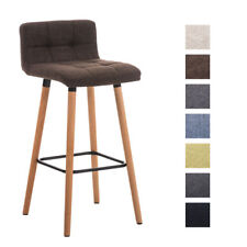 Tabouret bar LINCOLN chaise bois dossier tissu comptoir repose-pieds métal neuf