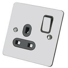 Single Switch DP Wall Plug Socket 1 Gang Black Insert Polished Chrome Flat 13Amp