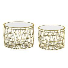 Bloomingville Side Table Basket Gold White 2er Set round D 42-47 H 31-34 CM