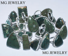 Christmas Sale ! 10 Pcs Lot Natural Bloodstone Gemstone 925 Silver Plated Rings