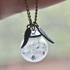 Women Fine Dandelion Seed Angel Wing Wish Bottle Glass Gifts Pendant Necklace