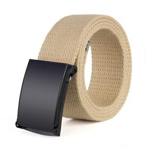 Unisex Military Web Belt Canvas Pants Belt Metal Buckle Outdoor Waistband Solid