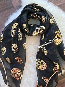 Ladies Women Unisex Gold Printed Skull Scarf Scarves Shawl Wrap 8 Colour Chiffon