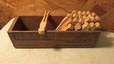 Antique Kraft Wood Cheese Box &  Wood Clothespins