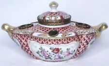 ANTIQUE FRENCH HAND PAINTED POLYCHROME FAMILLE ROSE PASTE PORCELAIN INKWELL