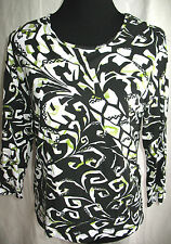 Chicos Floral Thin Stretch Jersey Top  Black White Lime Sz S 3/4 Sleeve Casual
