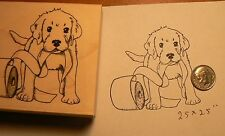Puppy with toilet paper rubber stamp P51