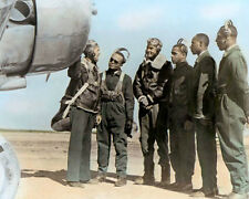 "THE TUSKEGEE AIRMEN WWII AFRICAN AMERICAN PILOTS 8x10"" HAND COLOR TINTED PHOTO"