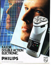 PUBLICITE ADVERTISING  1989   PHILIPS  rasoir double action éléctronique  090513