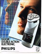 PUBLICITE ADVERTISING  1989   PHILIPS  rasoir double action éléctronique  090513