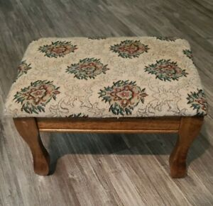 Small Foot Stool Wooden Legs Cushioned Top