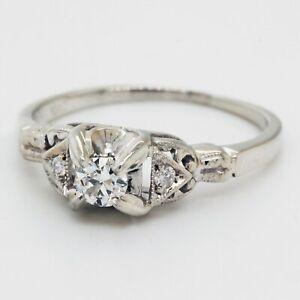 La Reine Vintage Diamond Engagement Ring in 18K White Gold