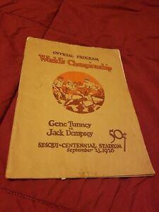 Vintage Original Jack Dempsey vs. Gene Tunney  Official Boxing  Program