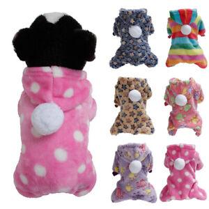 Pet Soft Plush Winter Warm Dog Clothes Fleece Jumpsuit Hoodie Small Puppy Coat