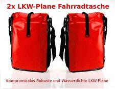 2x LKW-Plane Fahrradtasche Fahrrad Gepäckträgertasche Tasche Wasserdicht Rot