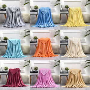 Soft Coral Fleece Blankets Plush Solid For Office Home Bed/Couch/Sofa/Chair