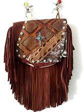 Hip Bag Company Western Leather Fringe Small Purse w/ Nail Heads - Biker Bag M21