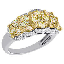 Anniversary Ring Wedding Band 2 Ct 14K White Gold Natural Yellow Diamond Cluster
