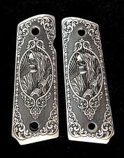 Colt 1911 custom ivory scrimshaw grips Grim Reaper Skull Scroll Pattern