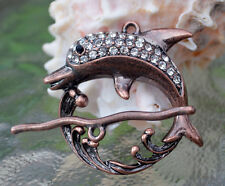 Dolphin Toggle Clasp, (T03C) Original Design: copper plated with rhinestones