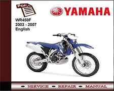 Yamaha Wr450f Wr450 F 2003 - 2007 servicio de Taller reparación Manual