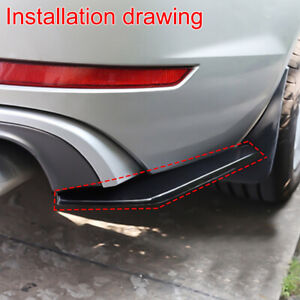 Glossy Black Car Rear Bumper Lip Diffuser Splitter Canard Protector Accessory