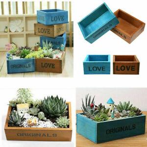 Garden Box Succulent Plant Wooden Pot Rectangular Crates Flower Gardening Decor