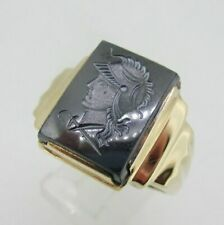 10K Yellow Gold Intaglio Hematite Mens Band Ring Size 12