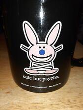 Happy Bunny Cute But Psycho Coffee Mug Black Pink Jim Benton