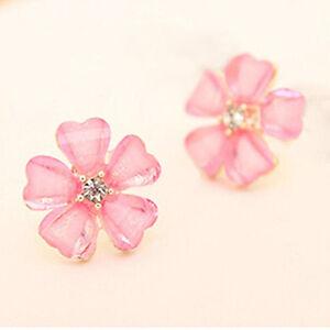 Pink Crystal Rhinestone Daisy Flower Aster Petals Stud Earrings 15mm