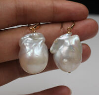 23 x16 mm White Keshi Baroque Pearl Earrings