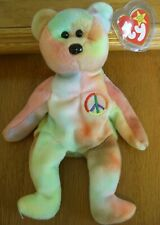 Peace the Bear Ty Beanie Baby 1996 P.E. Pellets