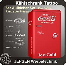 6 teiliges Coca Cola Kühlschrank Aufkleber Set 5 Cent - Einfarbig nach Wunsch