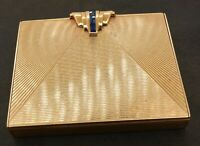 Tiffany & Co. antique heavy 14K gold 1.0CTW sapphire compact makeup box w/mirror