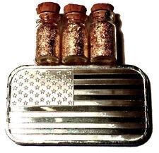 1 TROY OUNCE .999 SILVER BULLION AMERICAN FLAG BAR BU + 3 JARS 24K GOLD FLAKES