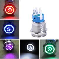 LED Beleuchtet 19mm 12V 5A Auto KFZ Schalter Drucktaster Taster Druckschalter