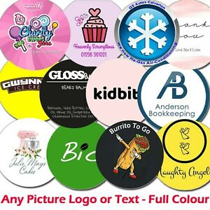 1000 x Personalised LOGO Printed Round Stickers - Custom Logo Postage labels