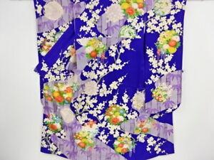 75671# JAPANESE KIMONO / ANTIQUE FURISODE / FLOWER ROUNDEL