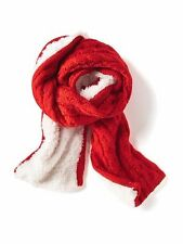 New Old Navy Girls Red Orange Cable Knit Sherpa Lined Scarf