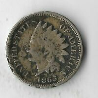 Rare Antique US 1863 Civil War Indian Head Penny Collection Cent Coin Lot:S36