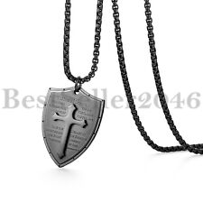 Mens Faith Cross Shield Pendant Black Stainless Steel Long Chain Necklace 24.8""