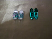 2 Pairs of Barbie Size Blue shiny Shoes.