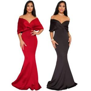 Celebrity Style Off Shoulder Mermaid Maxi Dress Prom Formal Evening Long Gown
